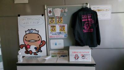 邑南町役場本庁の玄関入口に、オオナン・ショウグッズと一緒に展示されています。